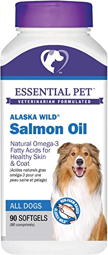 Essential Pet Products Alaska Wild Salmon Oil Soft Gels 1000mg with Natural Omega-3 Fatty Acids for Dogs, Yellow 27391
