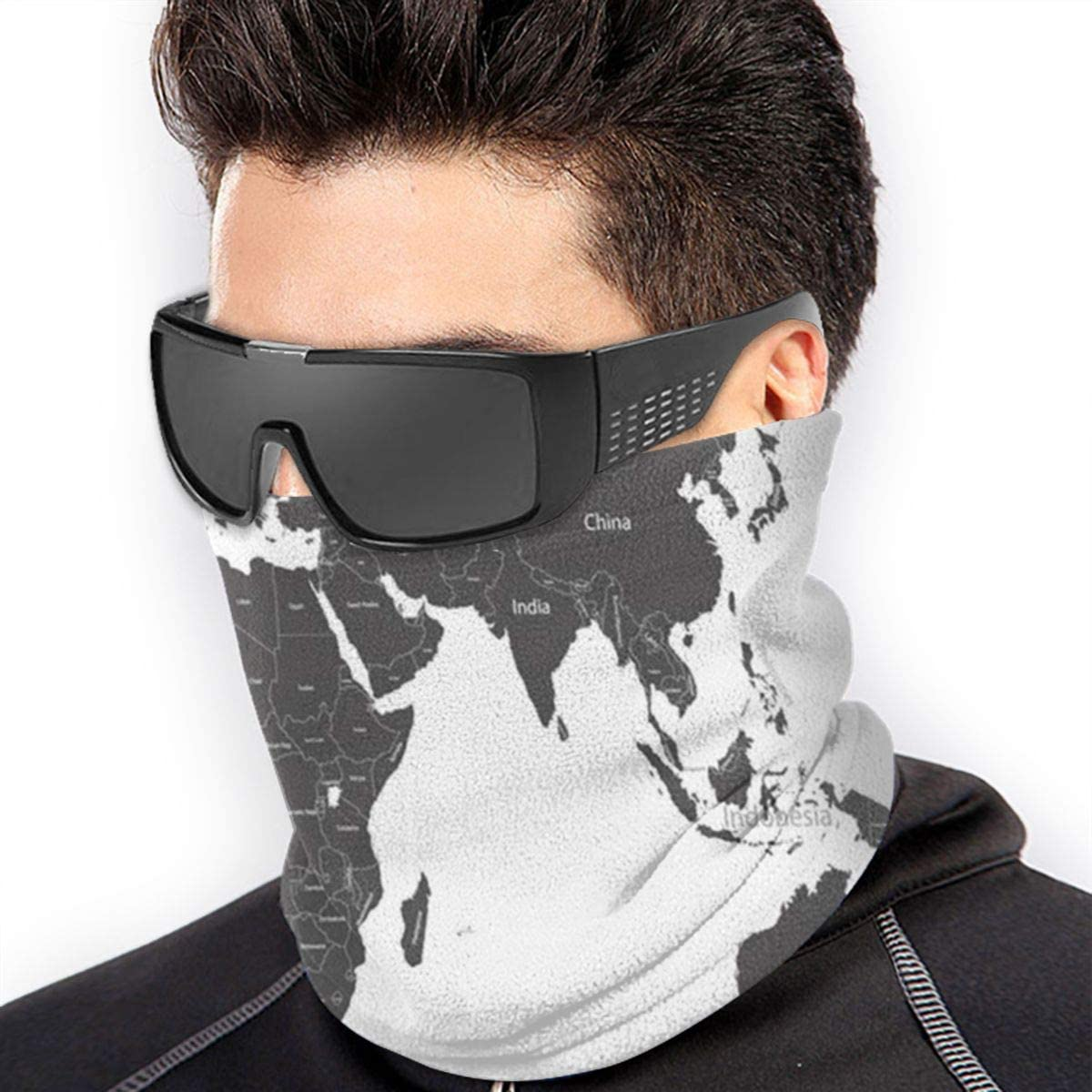 World Map Country Names Education Unisex Winter Fleece Neck Warmer Gaiters Hairband Cold Weather Tube Face Mask Thermal Neck Scarf 9.8x11.8 inch