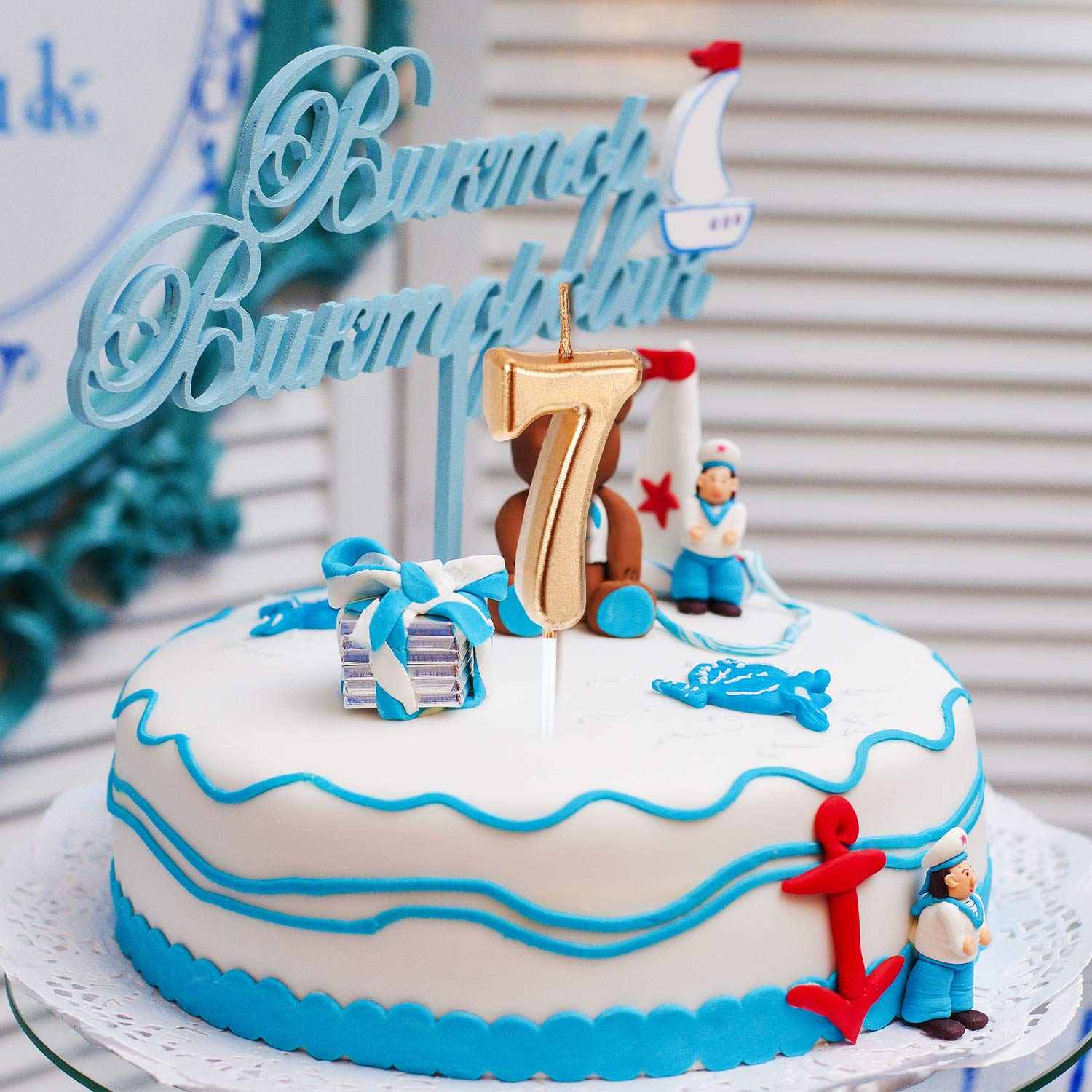 Blue Yaomiao 10 Pieces Birthday Numeral Candles Cake Numeral Candles Number 0-9 Glitter Cake Topper Decoration for Birthday Party Favor
