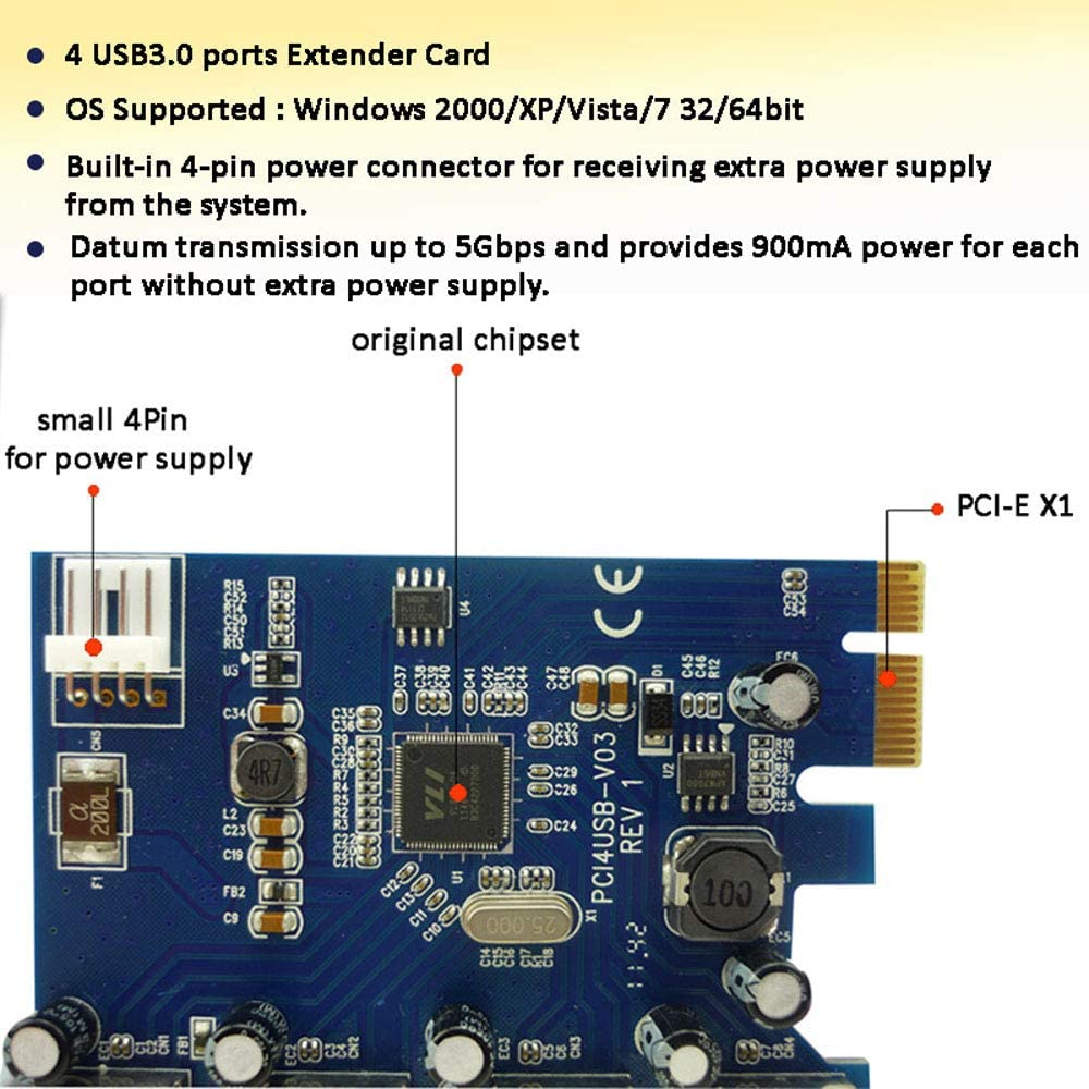 High Speed PCIe USB 3.0 Convert Card PCI-E to 4 Ports USB3.0 Adapter