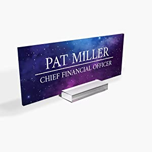 Personalised Desk Name Plate, Custom Engraved Sign, Office Plaque, Galaxy, Rose, Sky