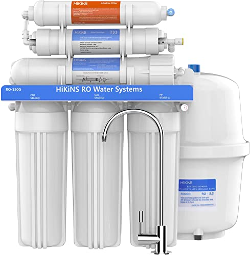 HiKiNS Alkaline Reverse Osmosis System 150GPD 6-Stage High Flow Home Drinking RO Water Filter System with Natural Alkaline Mineral pH and Efficiency of Water Saving CE certified