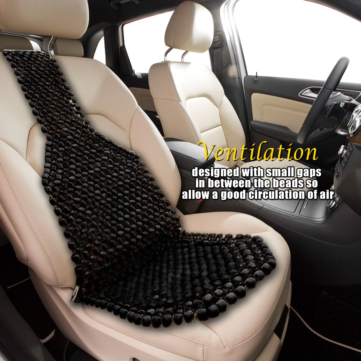 Universal Auto SUV Truck Office Home Wooden Bead Double Strung Cushion Cooling Stress Fee Reduces Fatigue VaygWay Beaded Car Seat Cover-Black Wood Cushion Massage Comfort Cover
