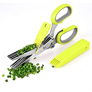 JINJI Kitchen Scissors - Multi-function cutting clip with 5 stainless steel blades with cleaning comb and safety cover for processing herbs and office waste paper
