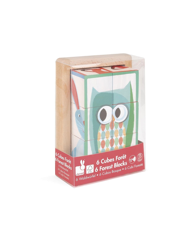 Janod Jura Toys J08200 6 Forest Blocks in Wooden Box