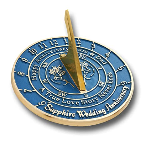 The Metal Foundry Personalised 45th Sapphire Wedding Anniversary Large Sundial Gift Idea Is A Great Present