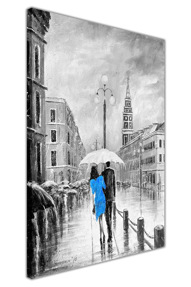 Blue Dress Under Umbrella Black and White Framed Canvas Pictures Wall Art Prints SIZE: A4 - 12