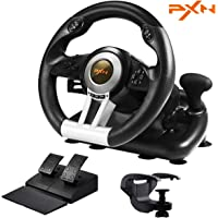 PC Racing Wheel, Experience PXN Left and Right Dual Vibration Motors and 180° Spin Racing Game Steering Wheel with…
