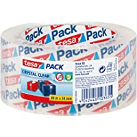 tesa UK Zelfklevende Verpakkende Band voor Karton het Verzegelen, Kristal Duidelijk, Enige Broodje, 66m x 50mm, Helder
