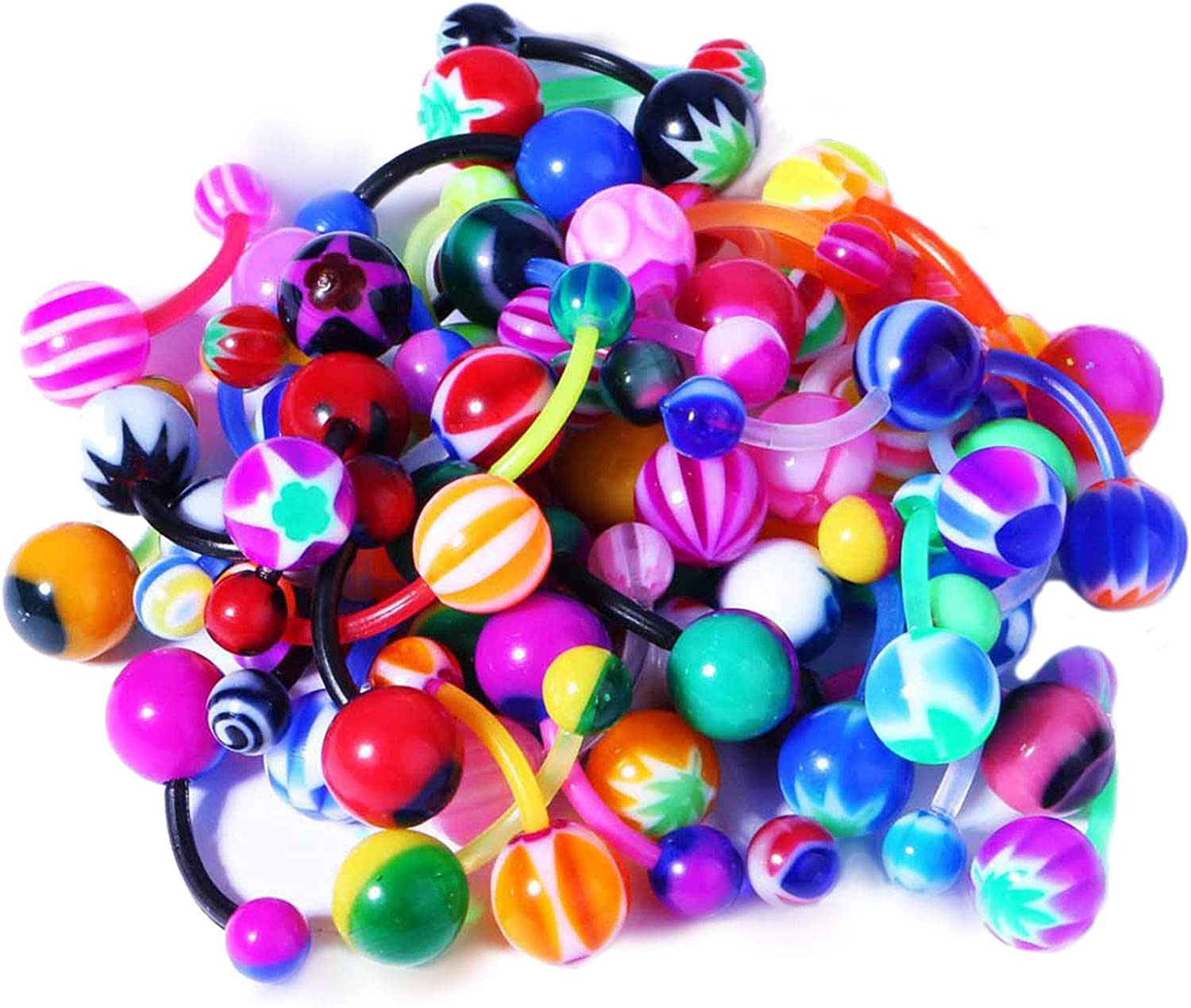 BodyJ4You 15PC Belly Button Rings Banana Barbells 14G Steel Flexible Bar Mix Color Body Jewelry