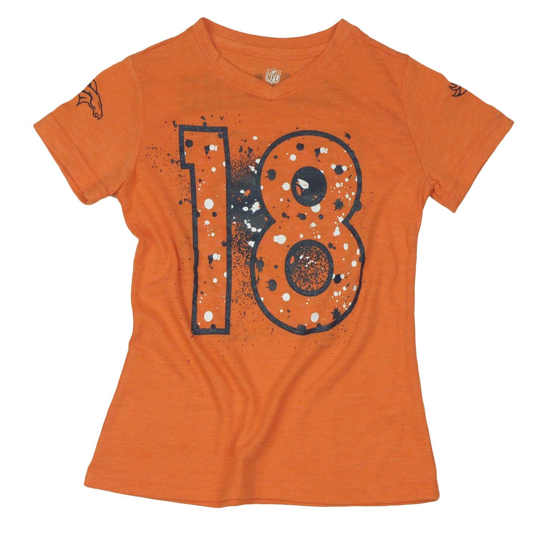 a4602dd1c Amazon.com   Outerstuff Denver Broncos Peyton Manning  18 NFL Big Girls Short  Sleeve V-Neck Splatter Tee