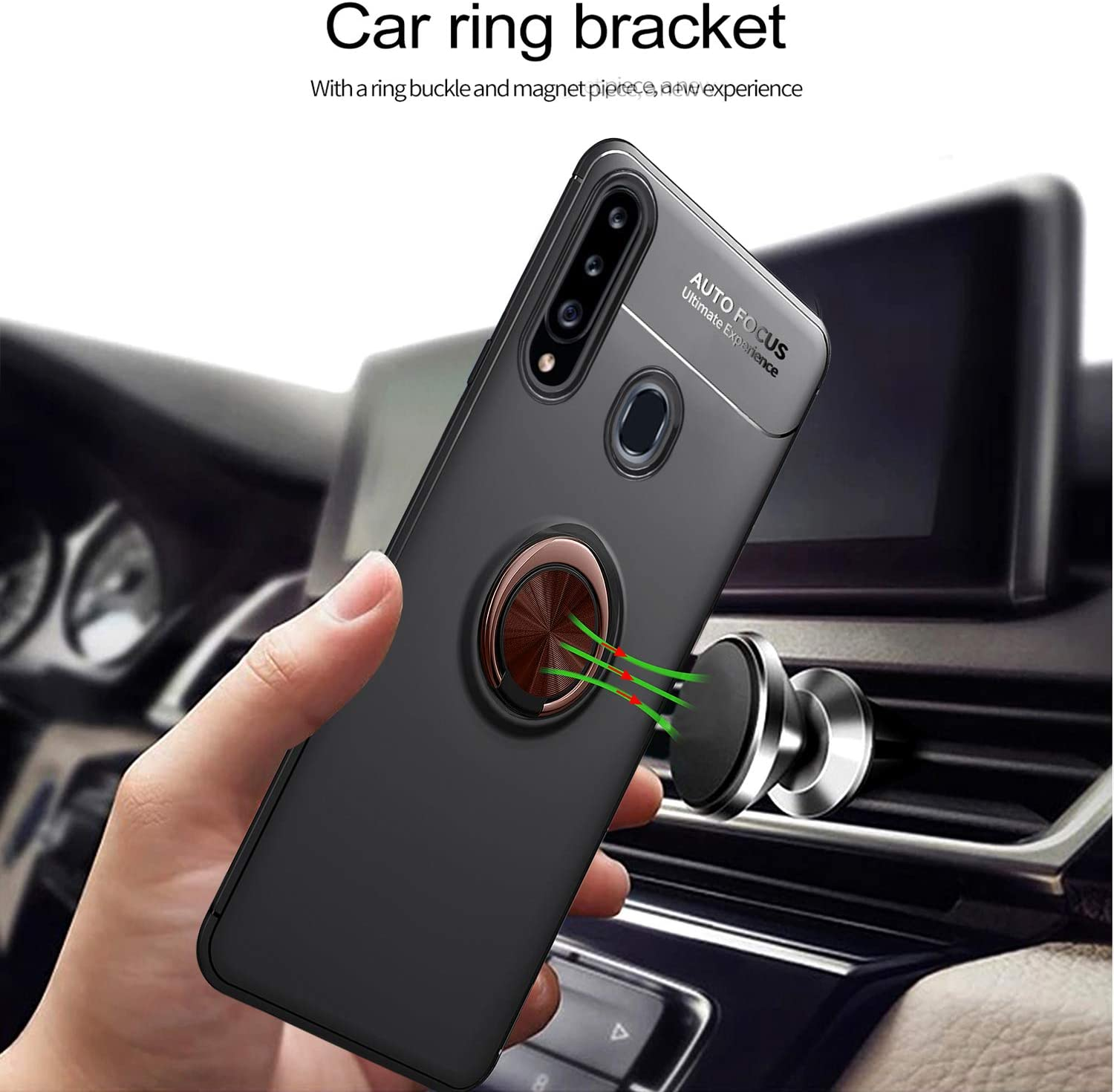 Newseego Compatible with Samsung Galaxy A20S Case Frosting Thin Soft Protective and 360/° Adjustable Finger Ring Holder Kickstand Fit Magnetic Car Mount Cover for Samsung Galaxy A20S-Blue+Blue