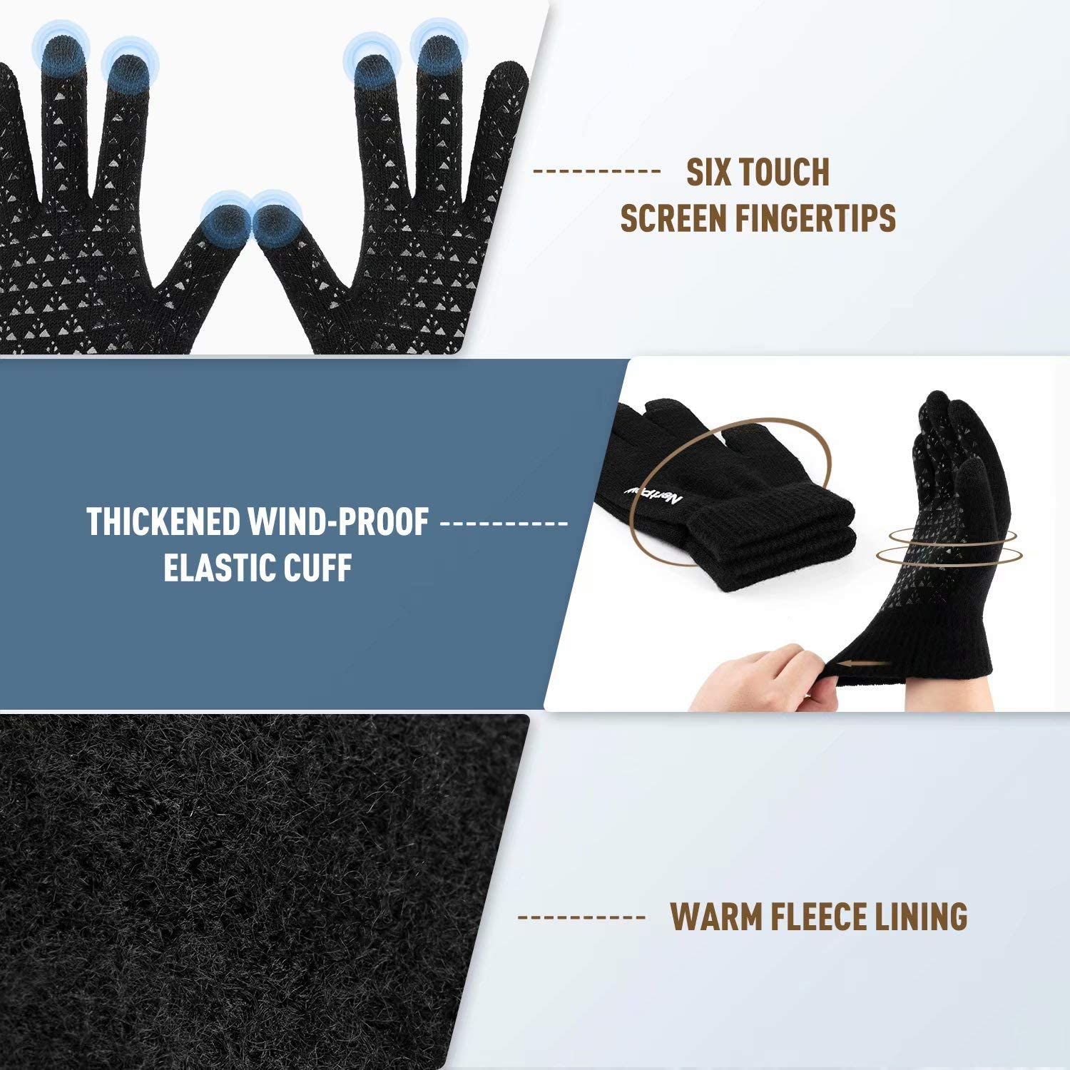 Knit Fleece Lined Warm Touchscreen Gloves Beanie Infitiny Scarf Set Winter 1-3 PCS Beanie Hat Gloves Scarf for Men and Women