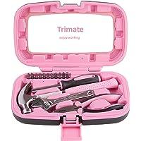Haushalt Handwerkzeuge. Werkzeug Set - 15-teilig von Trimate, Set beinhaltet - Hammer, Schraubenschlüssel, Zange (Werkzeug für Zuhause, Büro oder Auto) (Pink)