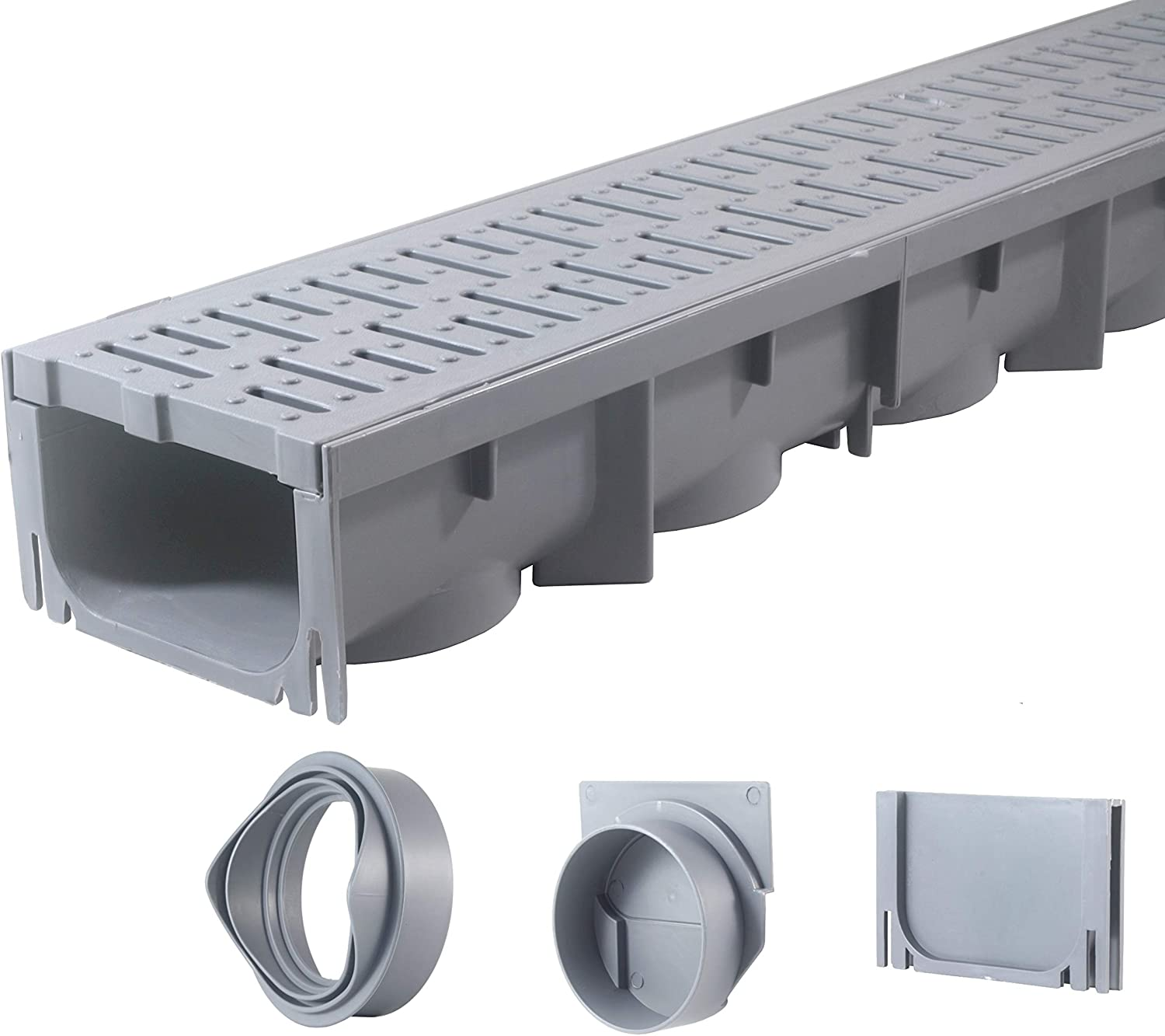 "Drainage Trench - Channel Drain With Grate - Gray Plastic - 39"" Long"