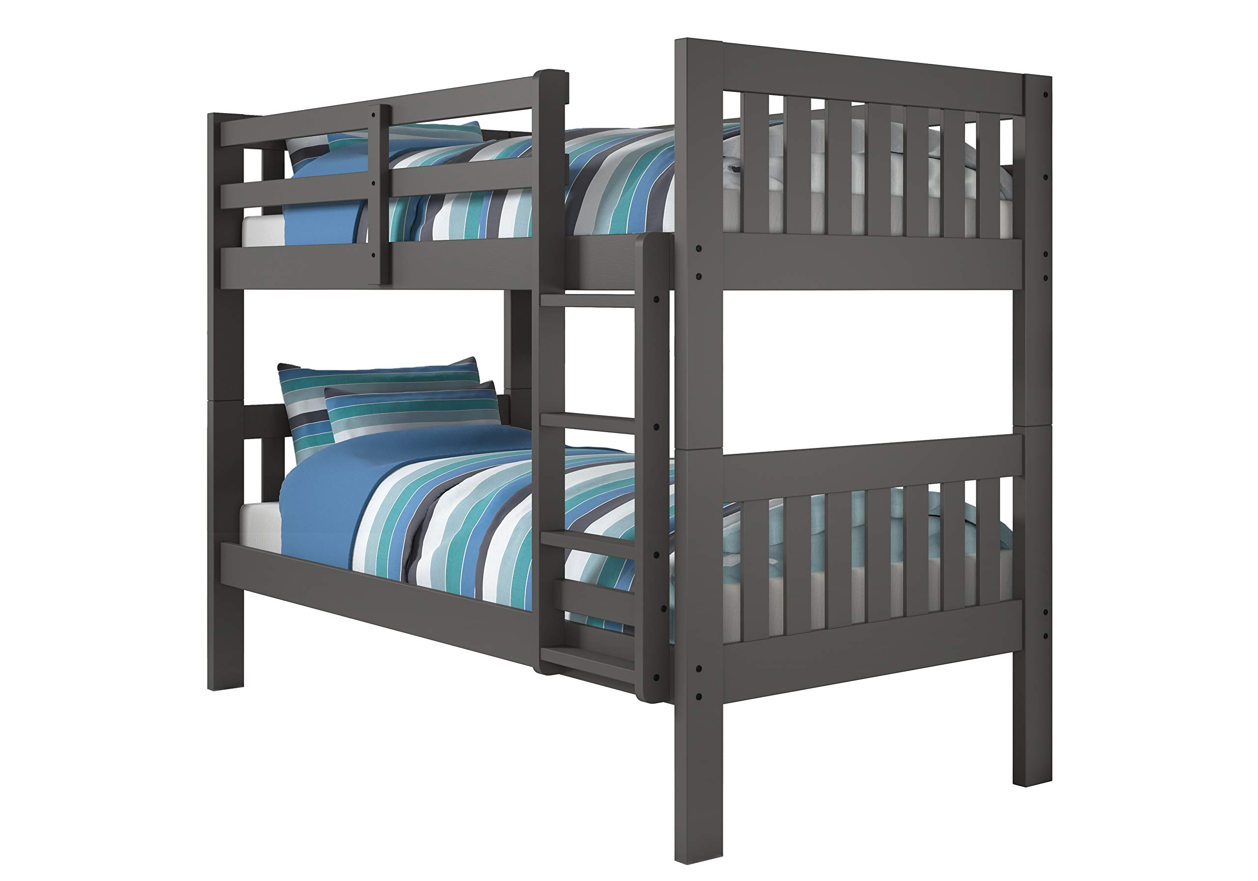 Donco Kids Mission Bunk Bed, Twin/Twin, Dark Grey