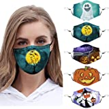 【US Stock 7 Days Arrived】Halloween Protection_Face_Mask_Covering for Women Men Reusable Washable Fashion Face Bandanas…