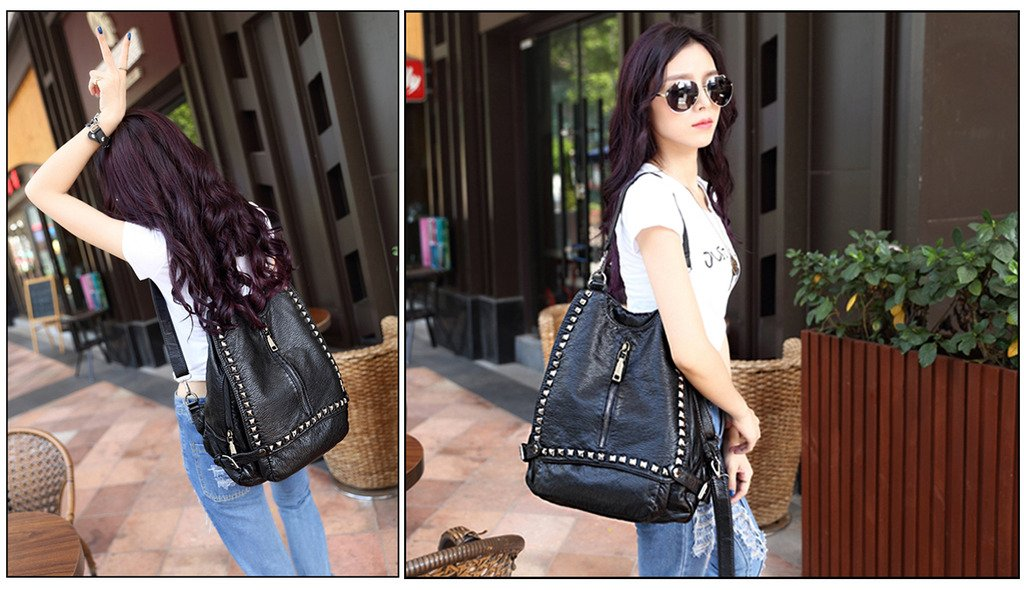 8dc1a8c2b521 UTO Women Backpack Purse PU Washed Leather Rivet Studded Convertible ...