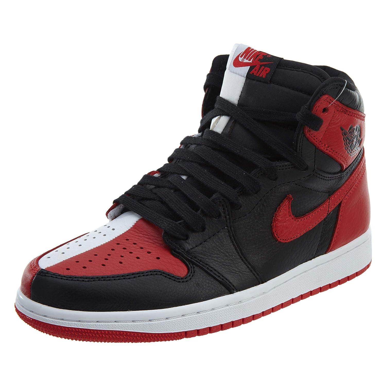 huge discount 2e1a3 bf959 Nike Mens Air Jordan 1 Retro High OG NRG HTH Black/University Red-White  Leather