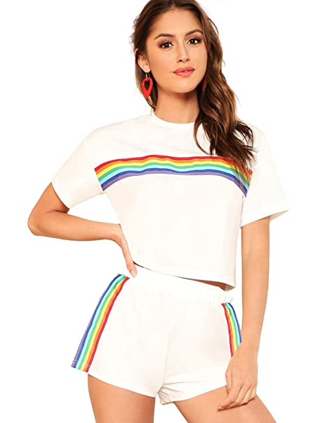 41dc8757a126 Romwe Women s 2 Piece Set Rainbow Print Casual Crop Cami Top with Shorts  White XS