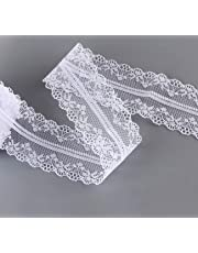 2 Rolls (15M/Each) Lace Roll White Lace Ribbon Vintage Floral Lace Trimming Bridal Wedding Lace for Decoration Crafts DIY Sewing