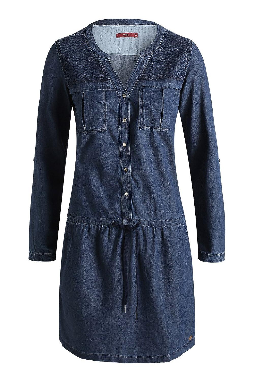 edc by ESPRIT Damen Tunika Kleid zigzag denim, Mini, Einfarbig, Gr. 34,  Blau (C RINSE 949)  Amazon.de  Bekleidung de1ea53503