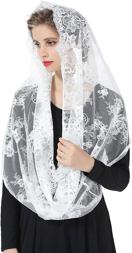 Mantilla De Encaje Española Mujer Capilla Velo Pañuelo de Iglesia Católica Bordado Chal Bufanda Negra Blanca V101: Amazon.es: Ropa y accesorios