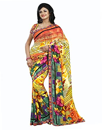 fae68cb800 Georgette Yellow Indian Sale Women Sari Saree With Unstitched Blouse Piece  Dress: Amazon.co.uk: Clothing