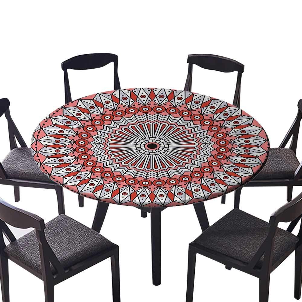 シンプルモダンラウンドテーブルクロス エスニックカラフルボヘミアンパターン パステルカラー 大きな抽象的な花 日常使い 結婚式 レストラン (エラスティックエッジ) 47.5