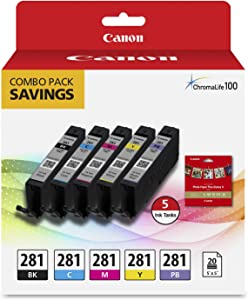 """Canon CLI-281 BKCMYPB / 20 Sheets 5""""x5"""" Square Combo Pack Compatible to TS9120 Series,TS8120 Series, TS8220"""