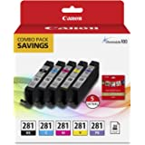 "Canon CLI-281 BKCMYPB / 20 Sheets 5""x5"" Square Combo Pack Compatible to TS9120 Series,TS8120 Series, TS8220"