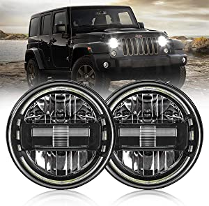 7 Inch Led Headlights DOT Approved Jeep Headlight with DRL Low Beam and High Beam for Jeep Wrangler JK LJ CJ TJ 1997-2018 Headlamps Hummer H1 H2-2020 Exclusive Patent (Black)