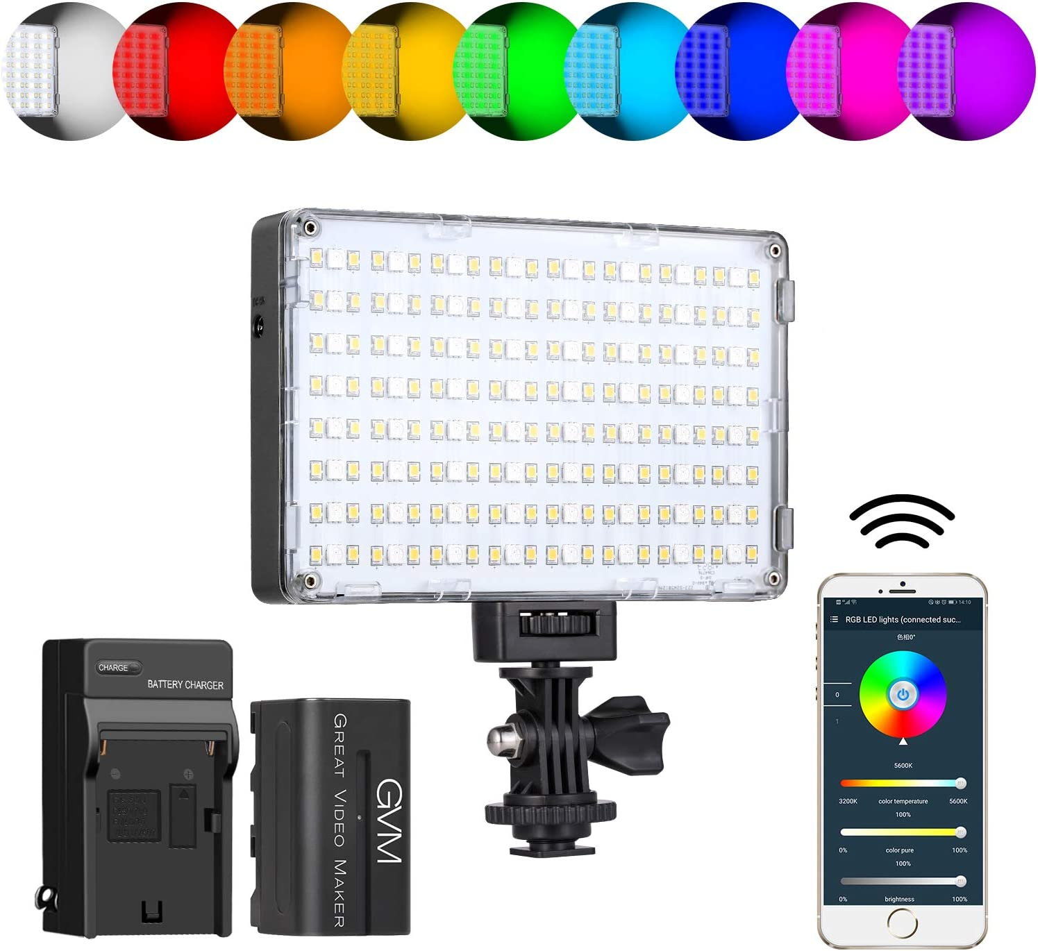 GVM RGB Video Light with APP Control, 360 ° Full Color Led Camera Light CRI97 + Dimmable 3200K-5600K Rechargable Led Video Light Panel for YouTube DSLR Camera Camcorder Photo Lighting, LCD Display
