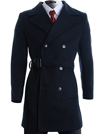 FLATSEVEN Mens Winter Double Breasted Pea Coat Long Jacket (CT122) Navy, US  XS