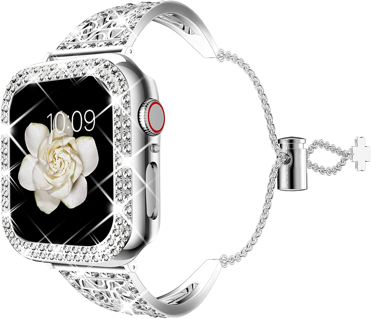 DABAOZA Compatible for Apple Watch Band 38mm 42mm with Case, Bling Women Girl Cuff Starp Dressy Dressy Replacement Bracelet Bangle Wristband with Shiny Bumper Cover for iWatch Series 3 2 1