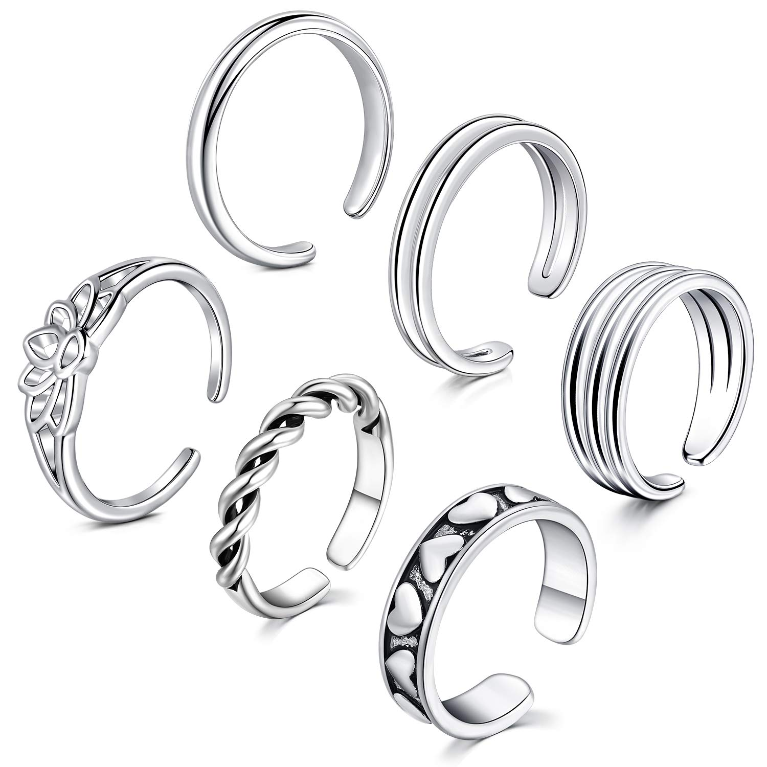 LAURITAMI Stackable Toe Ring Pack Moon CZ Cubic Zirconia Adjustable Band Tail Ring for Women Girls