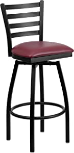 Flash Furniture HERCULES Series Black Ladder Back Swivel Metal Barstool - Burgundy Vinyl Seat