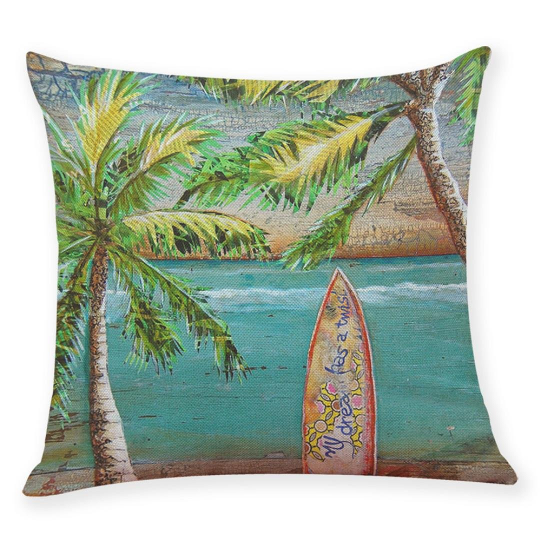 Quistal Home Decor Cushion Cover Summer Beach Throw Pillowcase Pillow Case 18 x 18 A Hot Sale