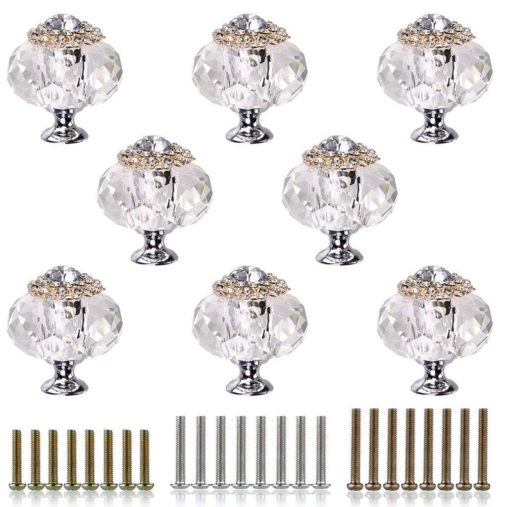 Sumnacon Crystal Glass Cabinet Knob Drawer Dresser Pull Handle, 8 Pcs 1.65 inch Clear Glass Diamond Decorative Knobs, Cupboard, Chest, Bin, Door Knobs with Screws for Kitchen Bathroom Office