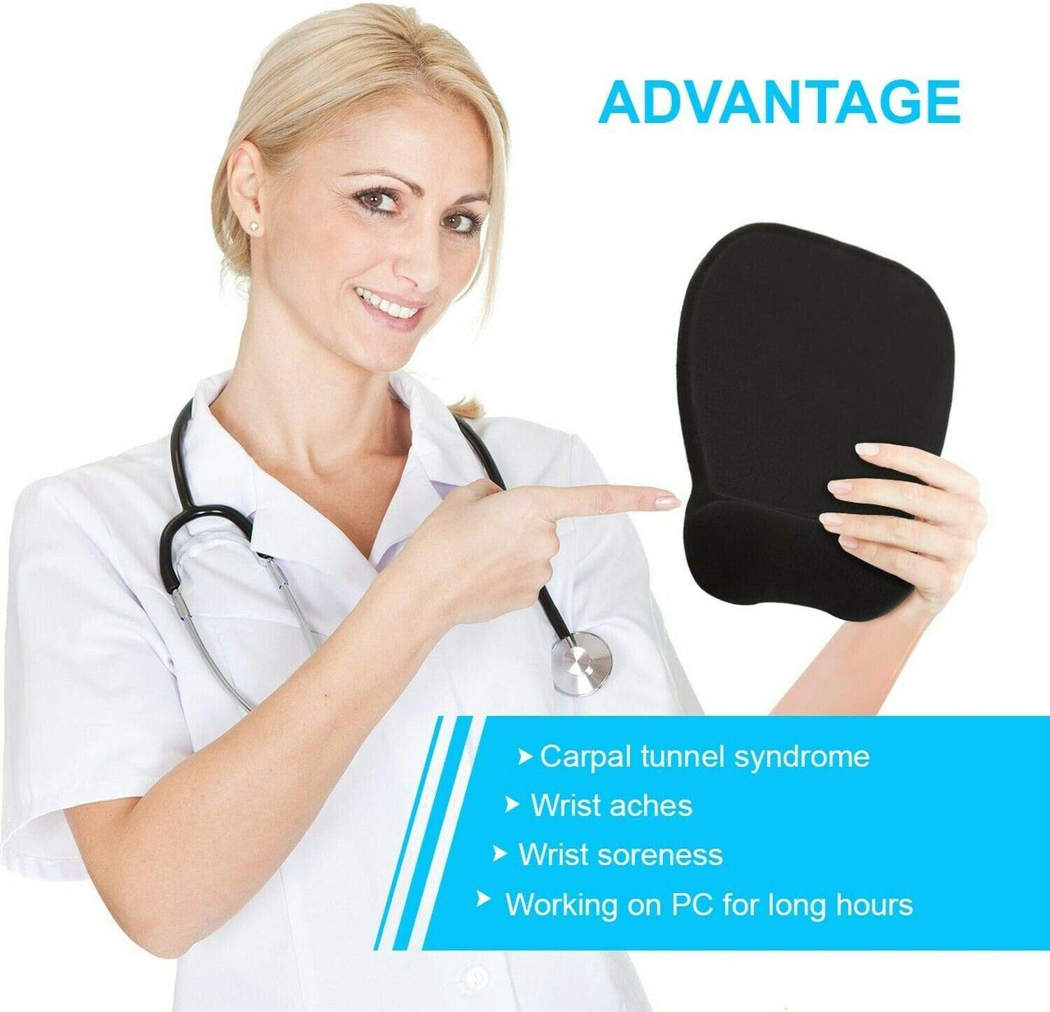 Ergonomic Mouse Pad with Wrist Rest Support, Black | Eliminates All Pains, Carpal Tunnel & Any Other Wrist Discomfort! Non-Slip Base, Stitched Edges! (1): Computers & Accessories