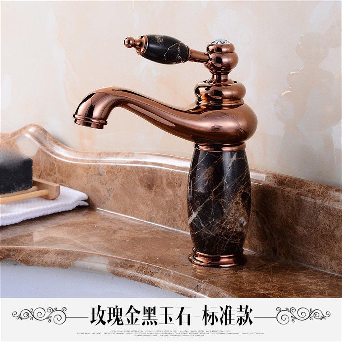 8 LHbox Basin Mixer Tap Bathroom Sink Faucet Continental jade faucet marble washbasins pink gold basin full copper golden basin of hot and cold taps, God light blond white jade