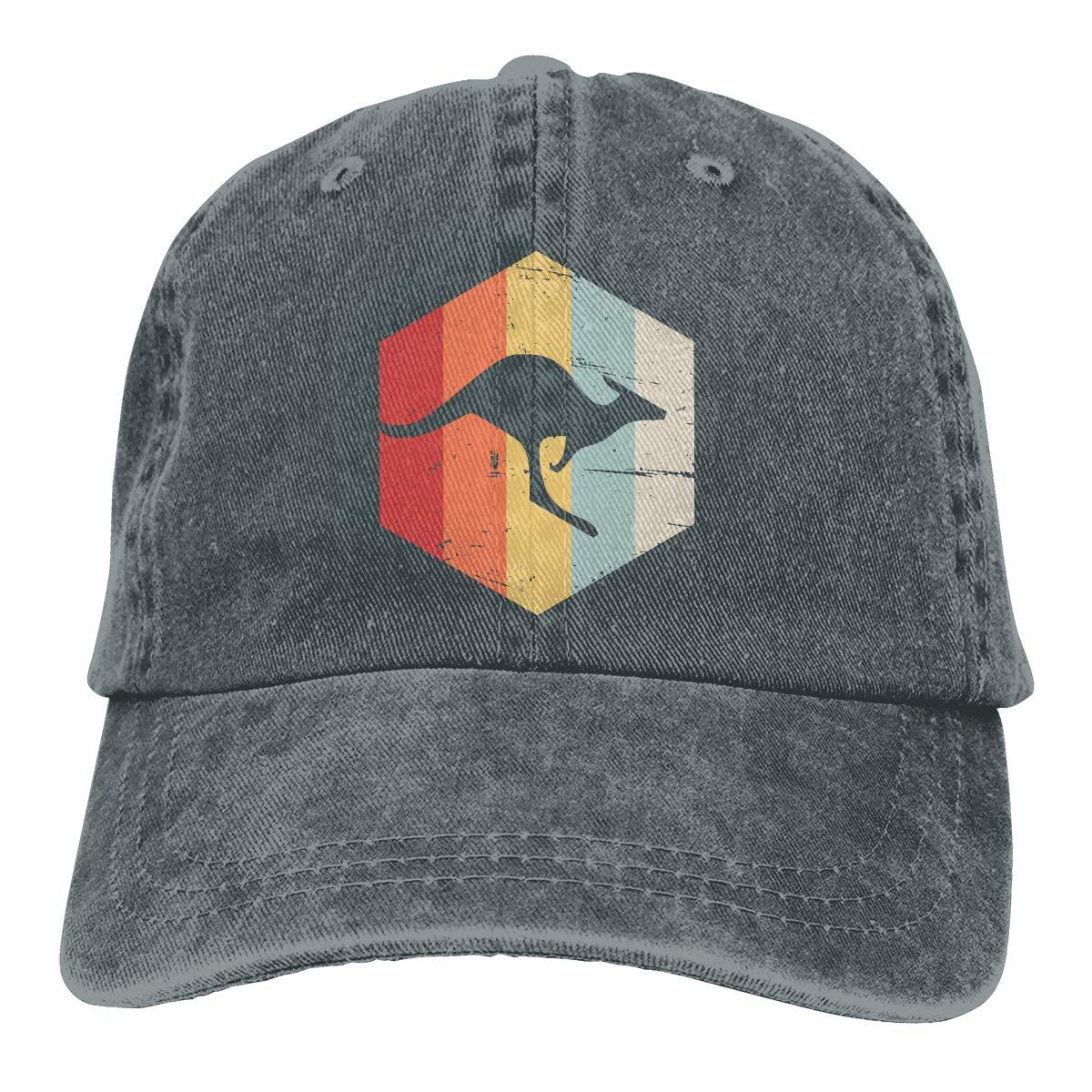Retro 70s Kangaroo Vintage Mens Womens Adjustable Denim Baseball Cap Sun Hat
