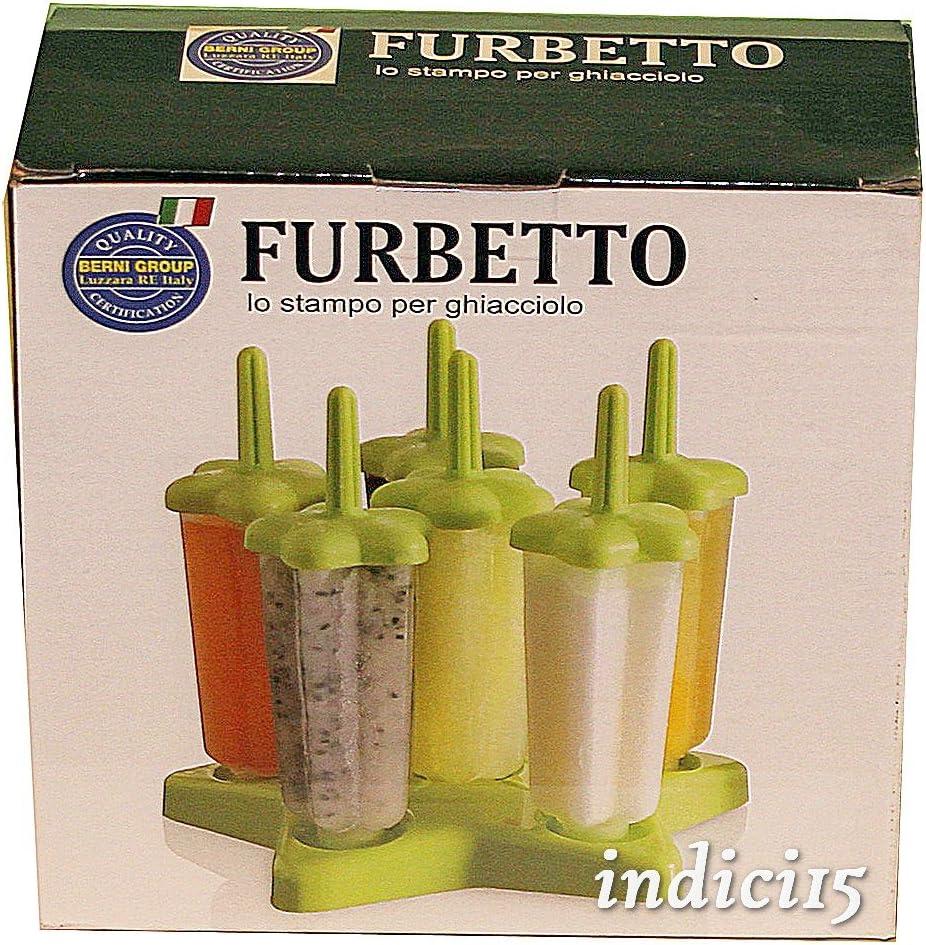 Furbetto 6 Stampini a stella per ghiaccioli e gelati con vassoio base