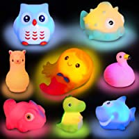 Animal Toy Bath Floating Toy with Auto Flashing Early Learning Toy Package with 8 Pcs Dinosaur Shark Flamingo Mermaid…