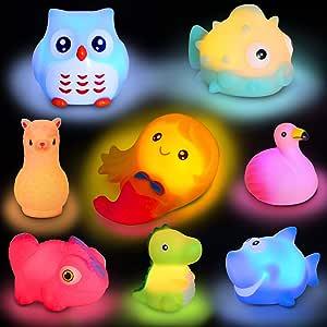 Animal Toy BathFloating Toy with AutoFlashing Early Learning Toy Package with 8 Pcs Dinosaur Shark Flamingo Mermaid Etc Bathtub Shower Toy Kids&Pets