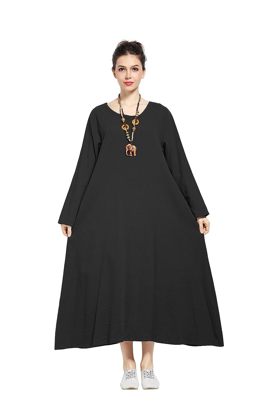 Black Anysize Soft Linen Cotton Dress Spring Summer Plus Size Dress F146A