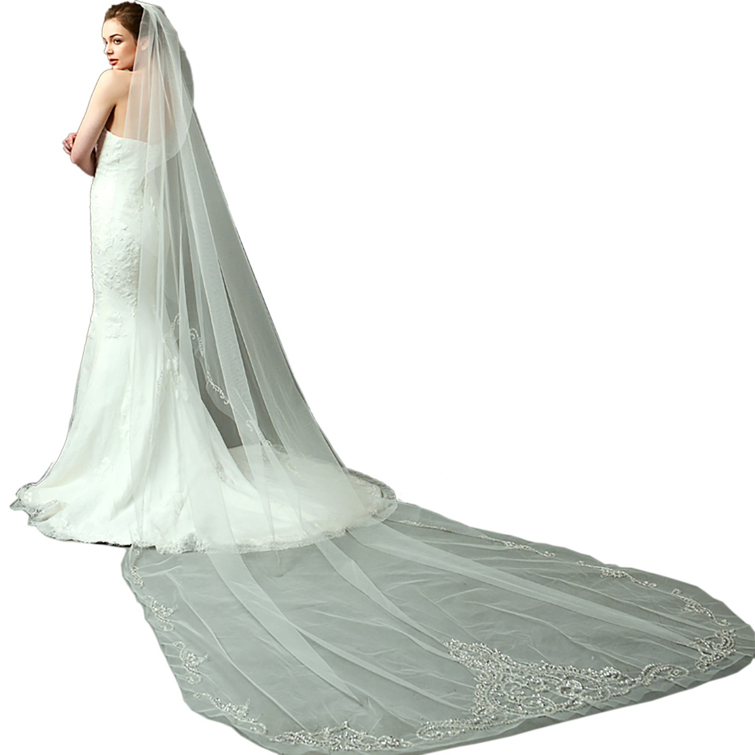LynnBridal One Tier Cathedral Length Wedding Veil with Beaded Embroidery
