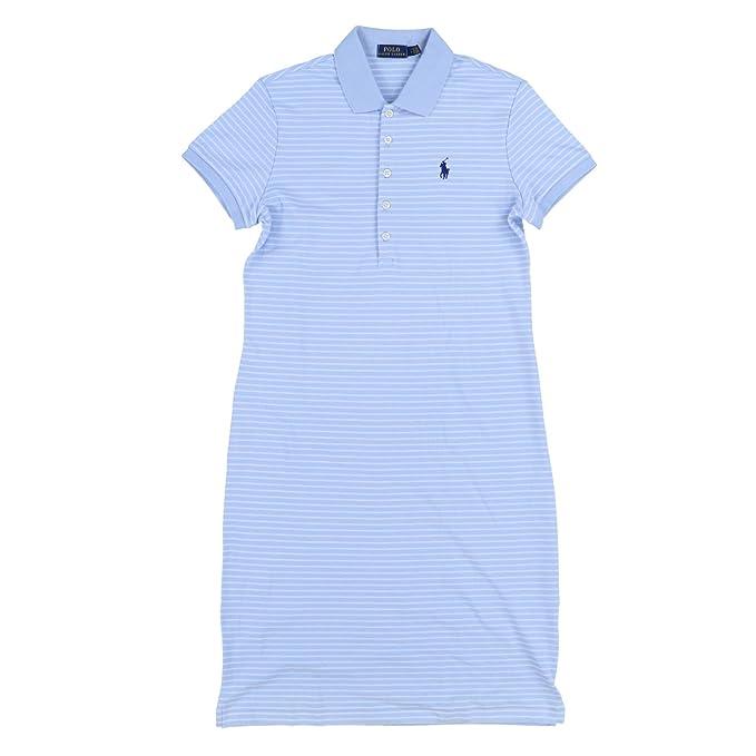 012fcc6e0f RALPH LAUREN Polo Womens Interlock Polo Dress (Medium, Light Blue Striped)