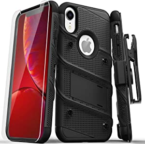 ZIZO Bolt Series for iPhone XR Case Military Grade Drop Tested with Tempered Glass Screen Protector Holster and Kickstand Black Black