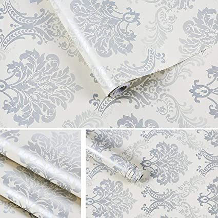 Lifavovy Damask Removable Wallpaper Peel And Stick Contact Paper Decorative Self Adhesive Shelf Drawer Liner Roll 17 7 X 393